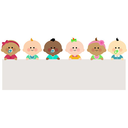 Babies holding horizontal blank banner Illustration