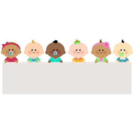 bebes: Los bebés que sostienen la bandera en blanco horizontal