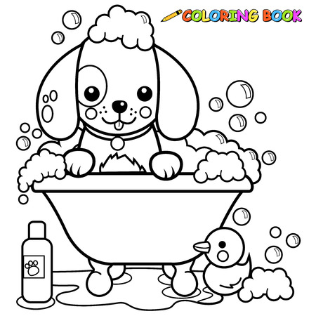 Dog taking a bath coloring book page