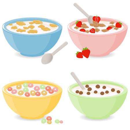 Bowls of breakfast cereal Vectores