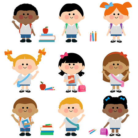 asian children: Diverse group of children students