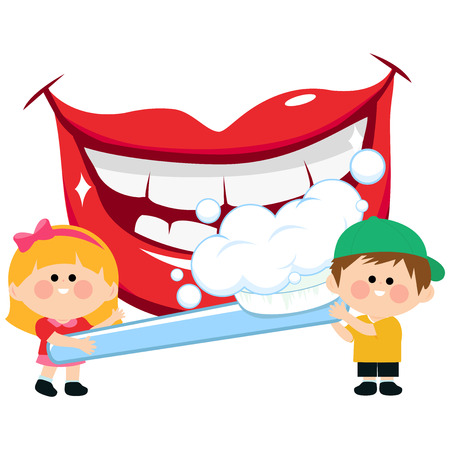 tooth: Smiling mouth, kids holding a toothbrush and brushing teeth. Illustration