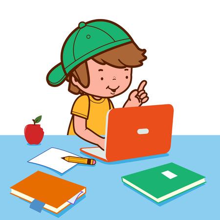 cartoon child: Boy doing homework on the computer Illustration