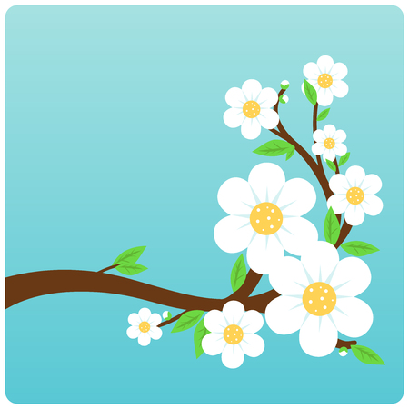 flowering: illustration of a tree branch full of flowers.
