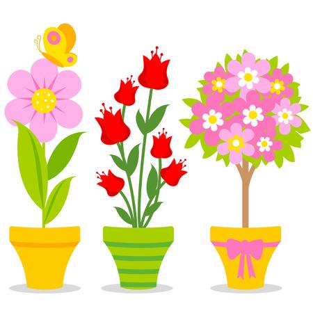Ilustración conjunto de macetas de flores de colores.