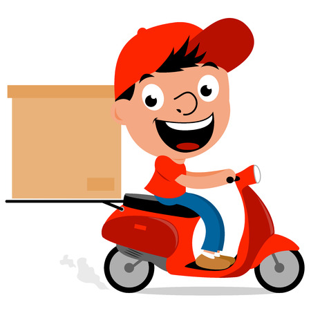 package delivery: Delivery man in scooter