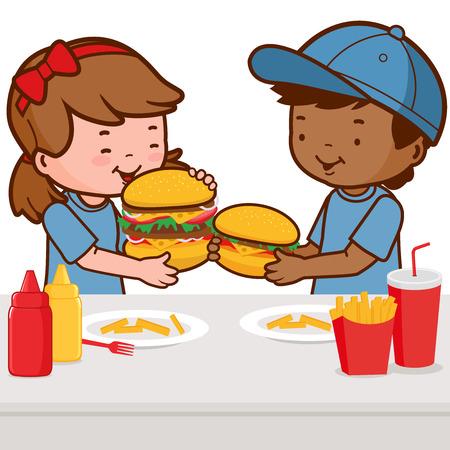 plate of food: Children eating hamburgers Illustration