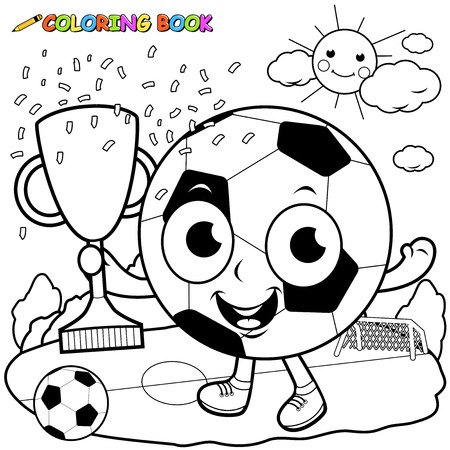 coloring book page: Champion cartoon soccer ball holding trophy coloring book page
