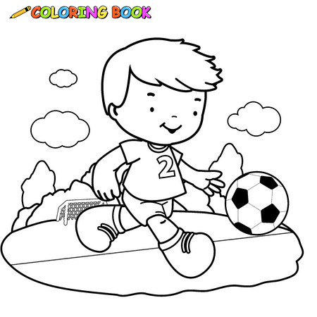 football ball: black and white outline image of a boy playing soccer. Illustration