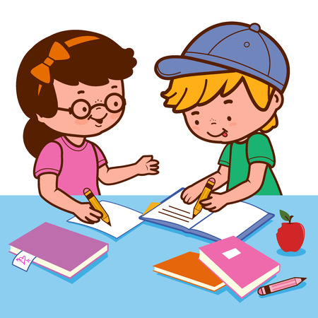 Girl and boy doing homework