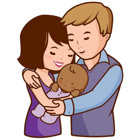 mom dad: La madre y el padre con su bebé adoptado