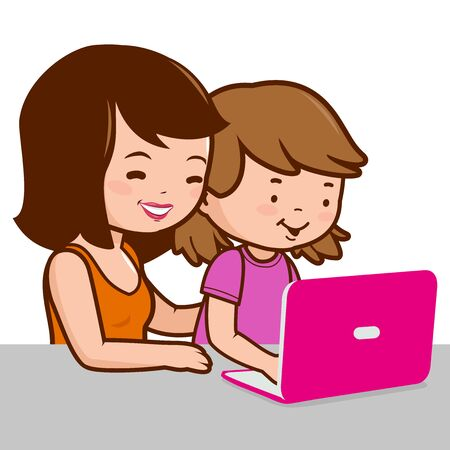 internet safety: Mother and daughter on the computer Illustration
