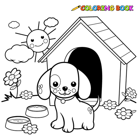 color page: Illustration of  a black and white outline image of a dog standing outside his doghouse. Illustration
