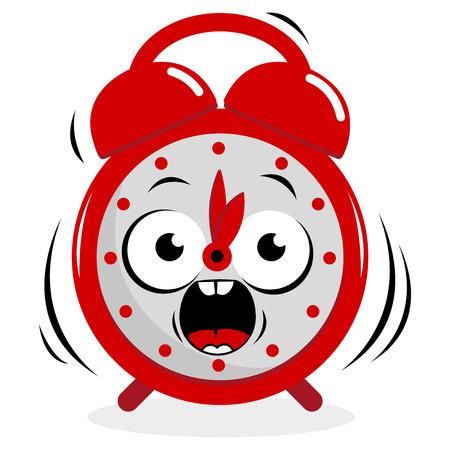 Stressed ringing alarm clock Illustration