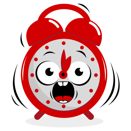 face to face: Stressed ringing alarm clock Illustration