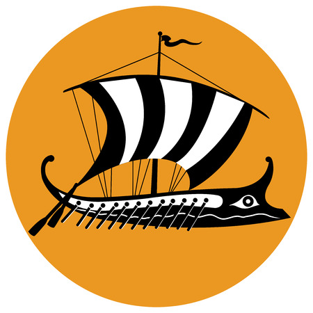 trireme: Stylized black and white version of an ancient Greek trireme ship