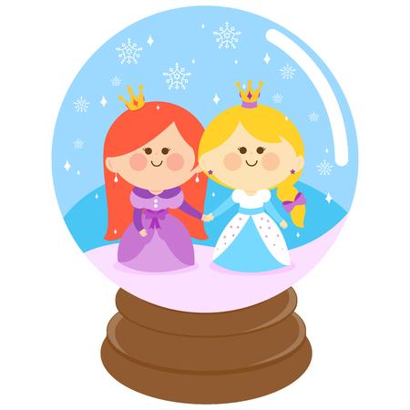 snowglobe: Beautiful princesses in a snowglobe