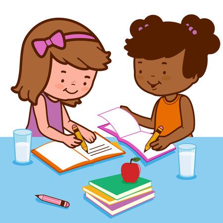 Studenti a fare i compiti a casa  Vettoriali