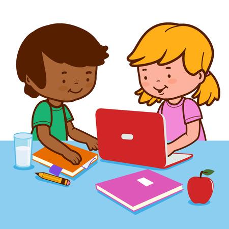 deberes: Los estudiantes que hacen la preparaci�n de un ordenador.