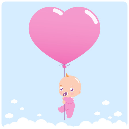 Newborn baby girl flying in the sky holding a heart shaped balloon.