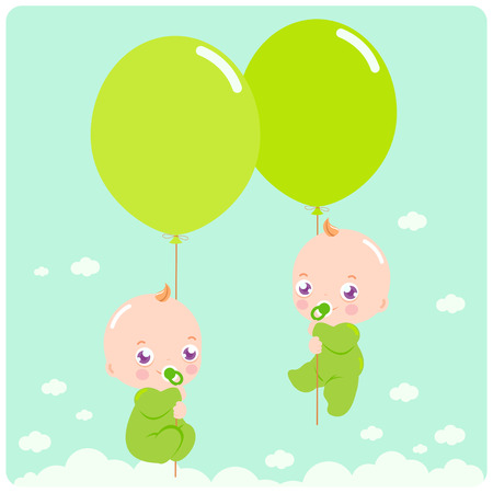 Baby twins flying in the sky holding  balloons.