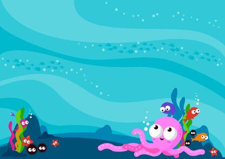 ocean floor: Underwater sea animals background