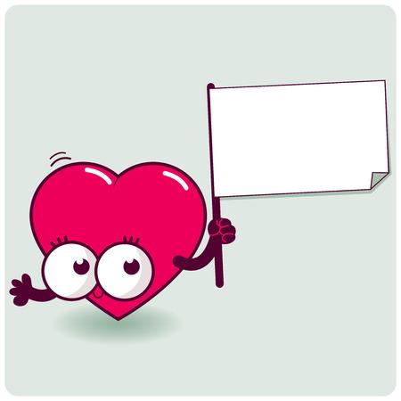 heart sign: Cartoon heart holding sign Illustration