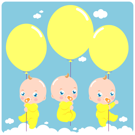 Baby triplets flying in the sky holding  balloons. Çizim
