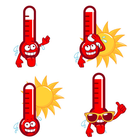 Cartoon thermometers indicating very hot temperature.