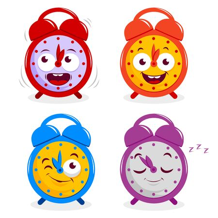 ringing: A ringing, a smiling, a winking and a sleeping cartoon alarm clock.