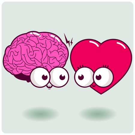 the mind: Cartoon heart and mind characters