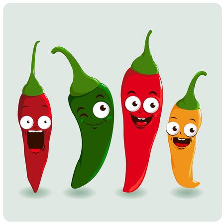 chiles picantes: personajes de dibujos animados pimiento chile Vectores