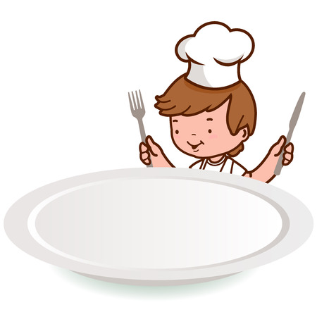eating lunch: Chef boy holding fork and knife over an empty plate Illustration