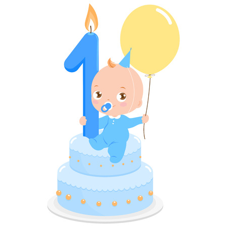 1st birthday: Birthday cake baby boy Illustration