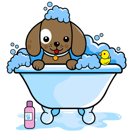 Dog in a tub taking a bath