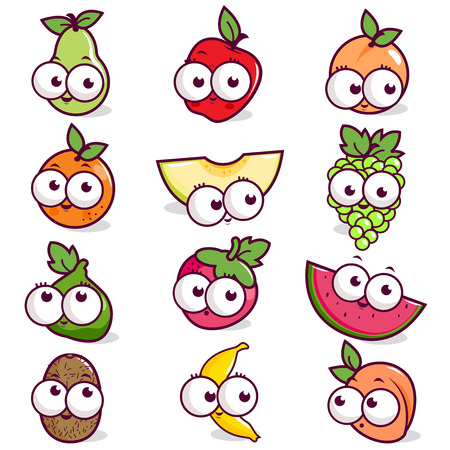 kiwi fruit: Cartoon fruit character set Illustration