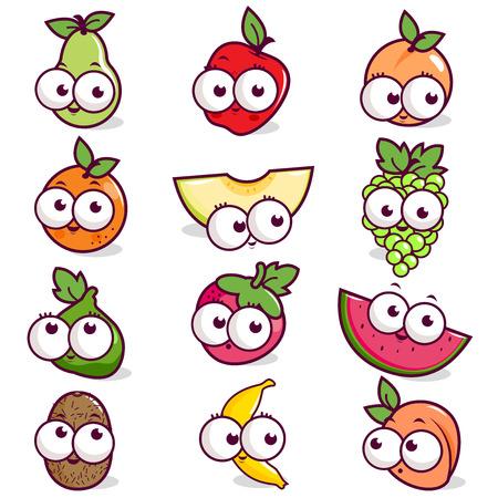 Cartoon fruit character set Illustration