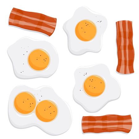 huevos fritos: Huevos fritos y tocino