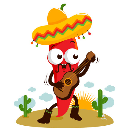 jalapeno pepper: Mariachi chili pepper playing the guitar Illustration