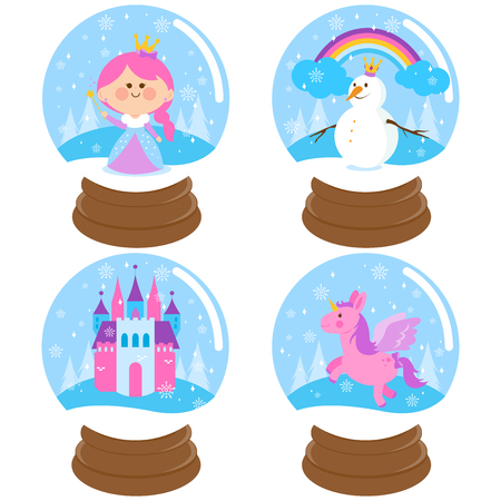 snowdome: Fairytale snowglobe vector set
