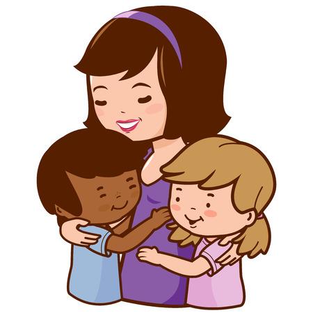 nene y nena: Madre sosteniendo a sus hijos adoptados