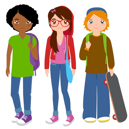 Group of teenager students Illustration