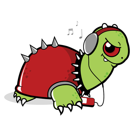 nailed: Turtle listening to music with headphones