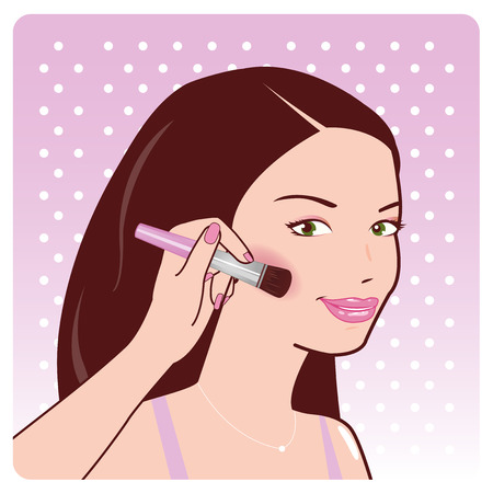 cheeks: Woman applies blush on her cheeks Illustration