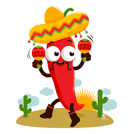 Mariachi chili pepper with maracas. Çizim