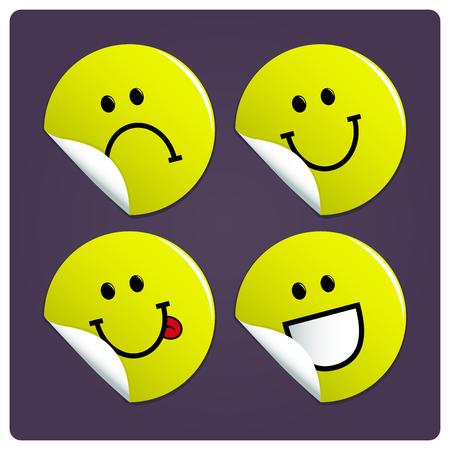 carita feliz: Smiley pegatinas vector de la cara