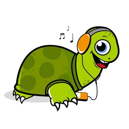 listening: Turtle listening to music.