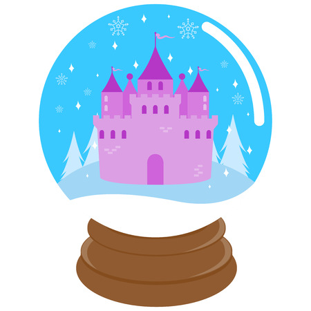 snowdome: Cute fairytale castle inside a snowglobe .