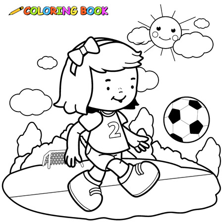 soccer field: Girl soccer player coloring page .