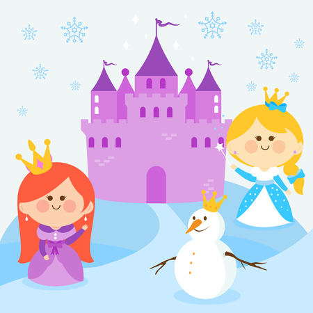 snow queen: Beautiful princesses in a snowy landscape with a castle and a snowman.